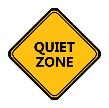 Yellow quiet zone sign. vector icon