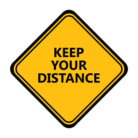 Yellow keep your distance sign. vector icon Ilustração