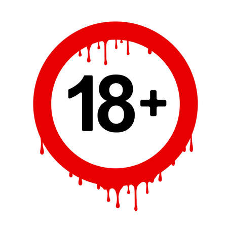Under 18 sign warning. vector icon