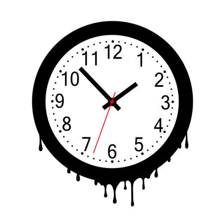melting clock on white background
