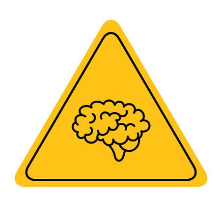 brain sign on white background