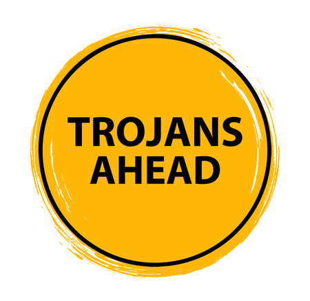 trojans ahead sign on white background