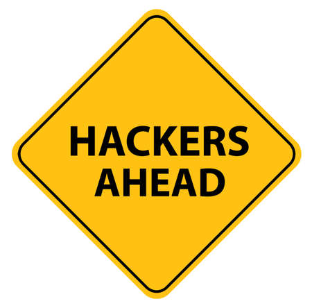 hackers ahead sign on white background