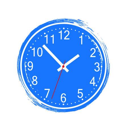 round wall clock on white background Illusztráció