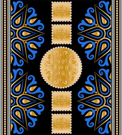 Seamless pattern decorated with precious stones, gold chains and pearls.