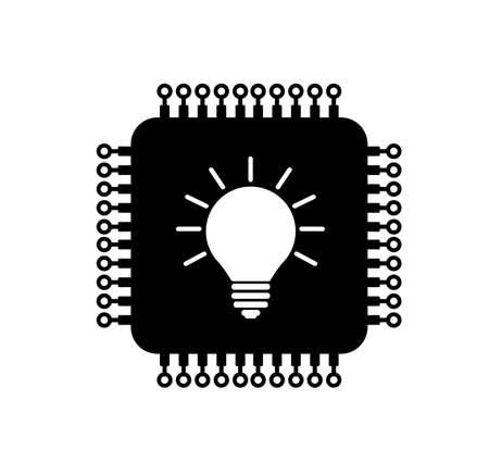 microchip icon on white background Ilustracja