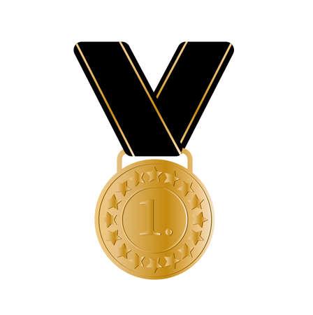 Golden medal icon on white background Vector Illustratie