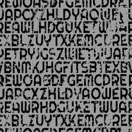 letters on black background with seamless pattern.