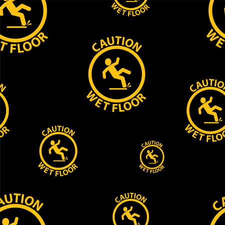 seamless pattern with wet floor icon