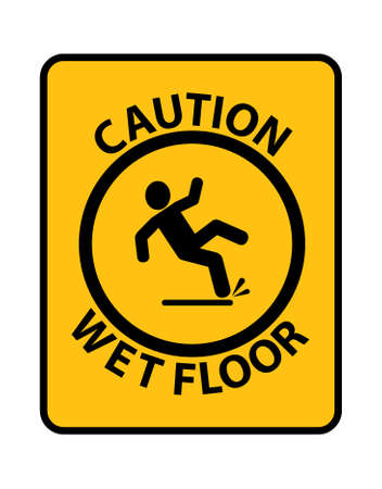 wet floor sign on white background 向量圖像