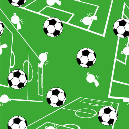 Cute seamless pattern with soccer balls.