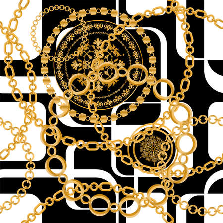 Seamless pattern decorated with precious stones, gold chains and pearls. 版權商用圖片 - 161336521