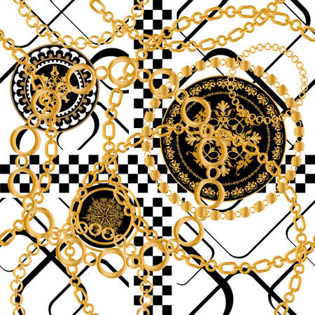 Seamless pattern decorated with precious stones, gold chains and pearls. 版權商用圖片 - 161336522