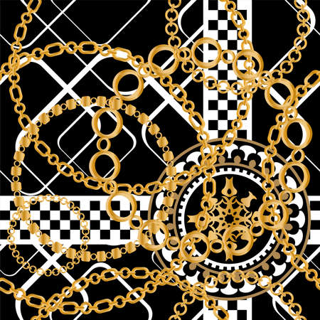 Seamless pattern decorated with precious stones, gold chains and pearls. 版權商用圖片 - 161336524