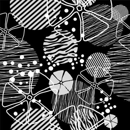 Seamless pattern of dots and geometric shapes