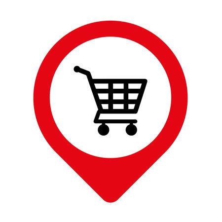 shopping cart sign. Vector icon.