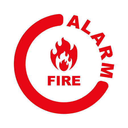 fire alarm sign on white background