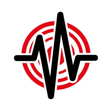 earthquake icon on white background 向量圖像