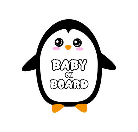 cute baby on board sign on white background 向量圖像