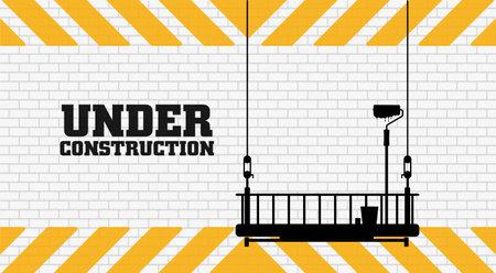 under construction on warning sign. 向量圖像
