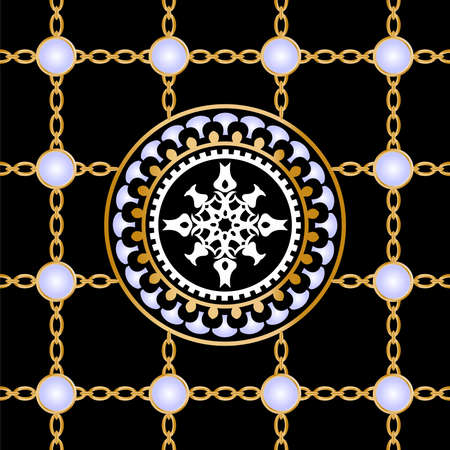 Seamless pattern decorated with precious stones, gold chains and pearls. Vector Illustration