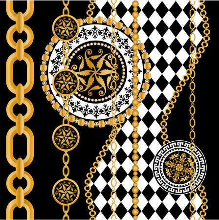 Seamless pattern decorated with gold chains and floral.