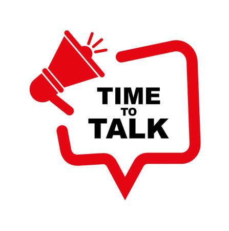 time to talk banner on white background