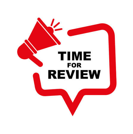 time for review sign on white background