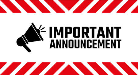 important announcement sign on red background