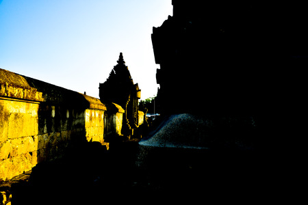 Silhouette of old ancient traditional stone temple in the classical royal palace complex