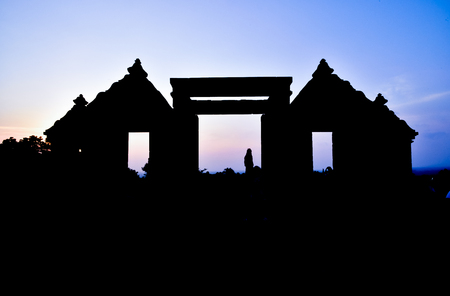 Silhouette of ruins of traditional old heritage stone medieval temple in East Asia in an archaeological complex