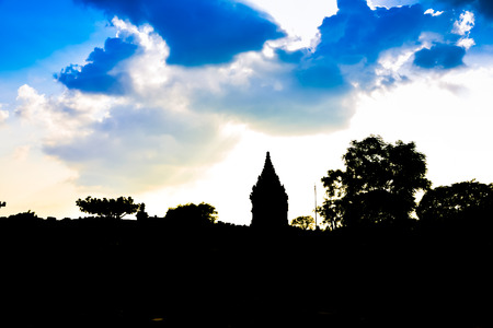 Sunset silhouette of ruins of traditional old heritage stone medieval temple in East Asia in an archaeological complex