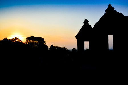 Silhouette of old ancient ruins of royal palace temple as part of heritage and archaeological complex