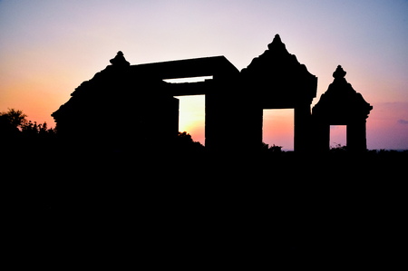 Silhouette of mega Hindu temple in the archaeology complex in the tropical island of Asia