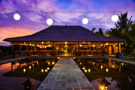 Gorgeous romantic purple blue sunset with traditional house in the middle of rice terrace field and palm trees in South East Asia Editöryel