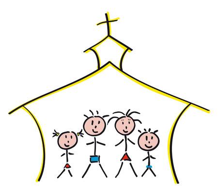 hand-drawn family in church