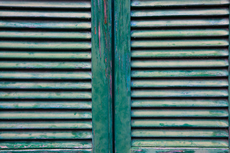 macro of old green shutters photo