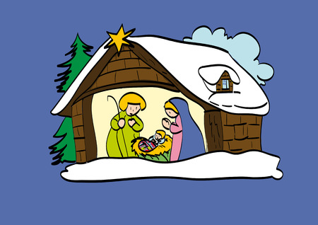 nativety: Hut of the Child Jesus, illustration made with style childhood