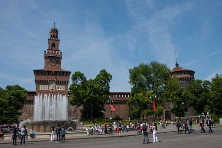 strives: MILAN, ITALY - May 01, 2014, square with fountain main entrance Castello Sforzesco Editorial