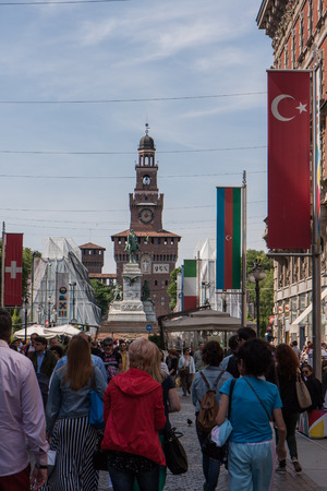 MILAN, ITALY - May 01, 2014 - The 2015 expo flags.