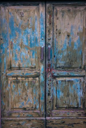 old green wooden door photo