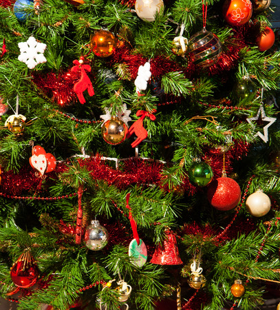 Close up Christmas tree and Christmas decorations