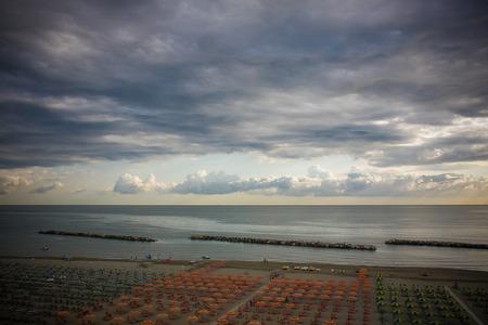 beach panorama: beach panorama romagna after a storm