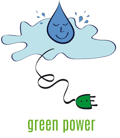hydro electric: Drop of water falling and green energy