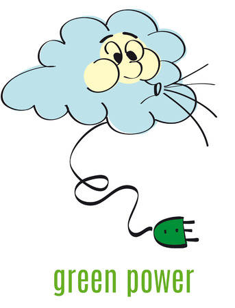 blowing wind: Blue cloud blowing wind and green energy