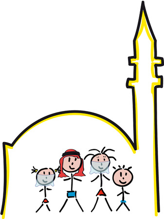 foreground: drawing Arab mosque with family in the foreground