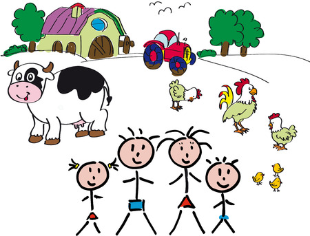 drawing farm with animals, panorama with family