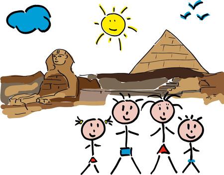 sphinx: progettazione della sfinge, panorama con la famiglia