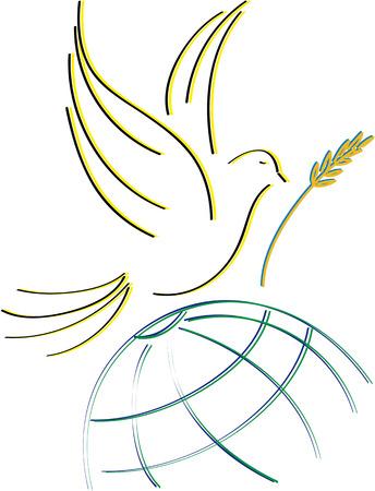 천국: dove of peace, silhouettes designed to stretch 일러스트