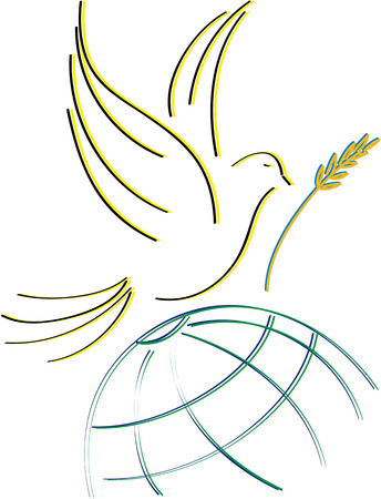 world peace: dove of peace, silhouettes designed to stretch Illustration
